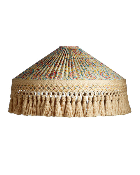 Vintage Sari Pleated Lampshade with Bali Tassel Trim