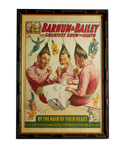 Original Barnum and Bailey Circus Stone Litho Poster Chinese Aerial Acts