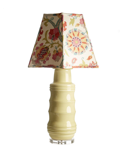 Pair of Porcelain Green Charmeuse Lamps with Floral Print Linen Lampshades