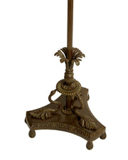 Bronze Swan Garden Floor Lamp with Damascene Glass Shade Circa 1900