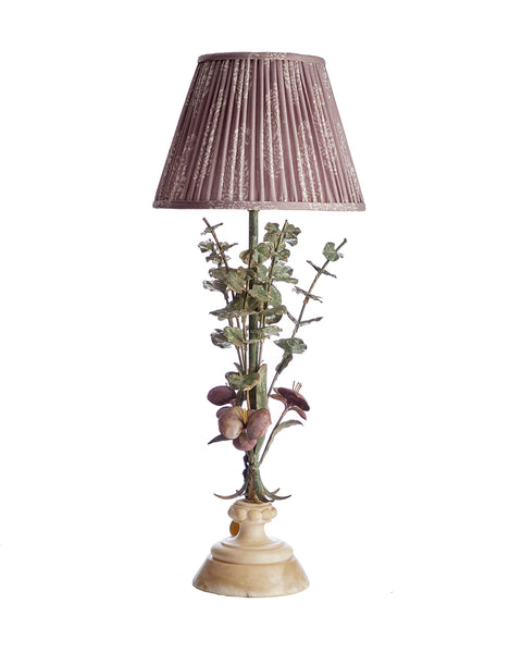 Tole Flower Lamp with Perfect Lilac Print Linen Pleated Lampshade