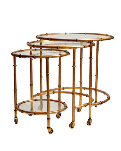 Set of Three Gilt Faux Bamboo Metal Nesting Tables