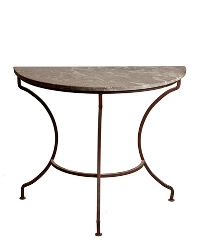 Pair Demi Lune Table Consoles Iron Base with Carrara Marble Tops