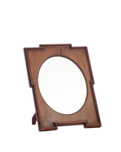 Antique Wooden Oval Dressing Mirror