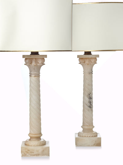Pair of Alabaster Twisted Column Lamps