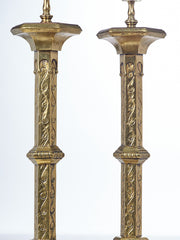 Pair of Brass Heraldic Table Lamps