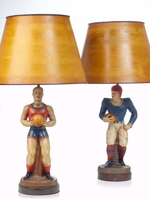 Pair of Vintage Sports Figurine Table Lamps
