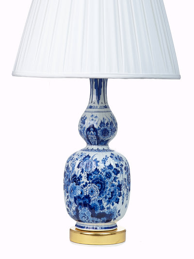 Antique Delft Table Lamp with 24K Gold Leaf Base