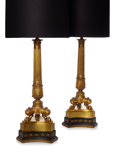 Pair of Neoclassical Gilt Column Lamps