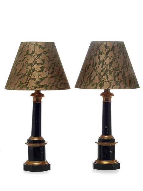 Pair of Antique Green Lacquered and Brass Candlestick Lamps