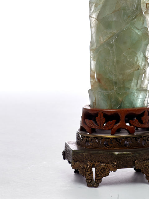 Carved Antique Jade Accent Lamp