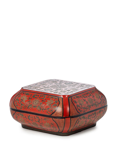 Chinese Red Lotus Vine Box Circa 1920