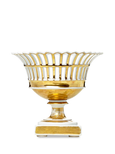 White and Gold Reticulated Compote Dish