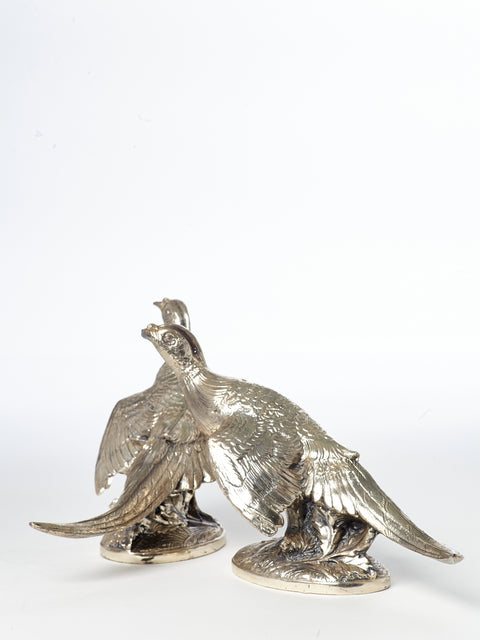 Pair of Silver Plated Pheasants