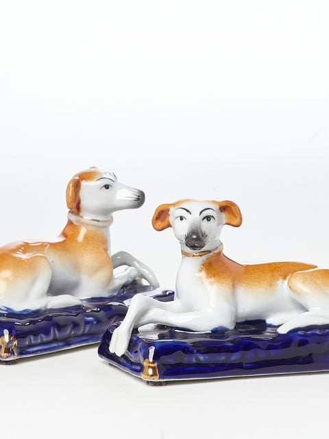 Pair of English Staffordshire Porcelain Whippet Figurines