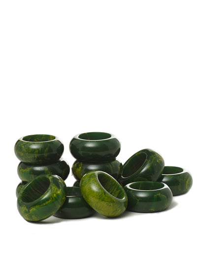 Set of 12 Malachite Napkin Rings