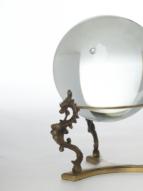 Magic Crystal Ball on Seahorse Tripod Brass Base