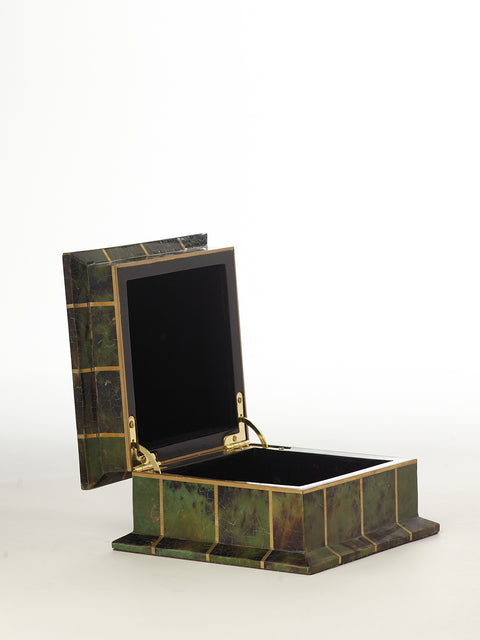 Maitland Smith Vintage Tortoise Shell Box with Brass Inlay