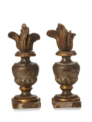 Pair of Wood Flame Gesso Continental Finials