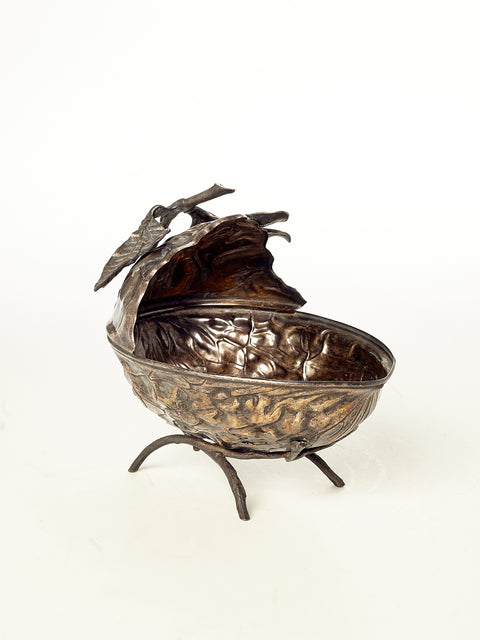 Silver Plated Walnut Bowl