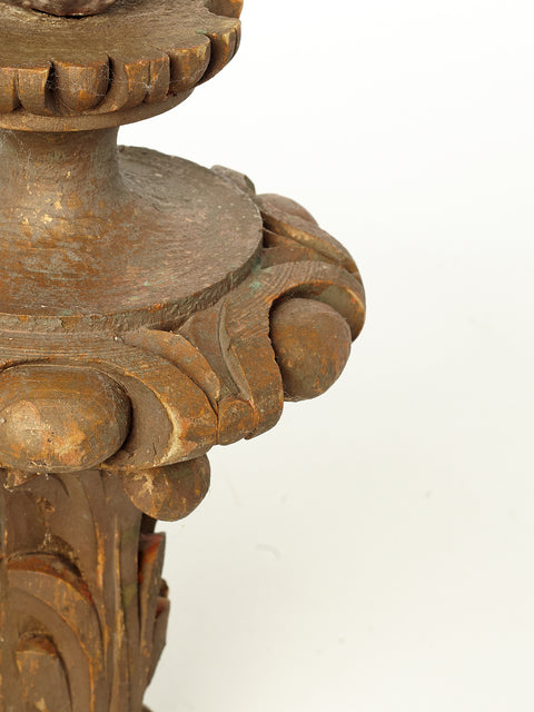 Wood Carved Flame Finials