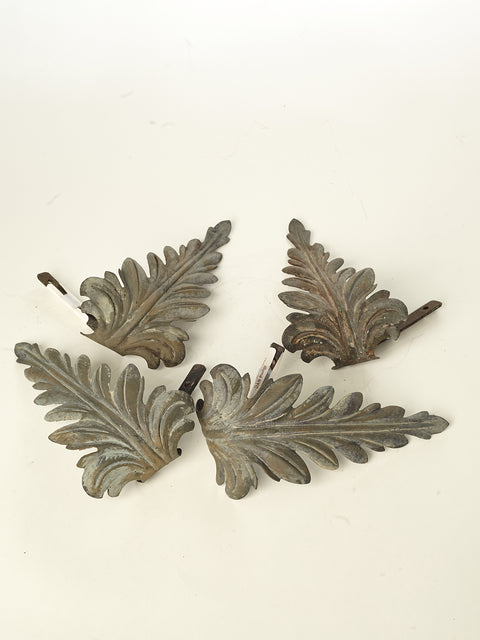 Two Pairs of Zinc Leaf Tiebacks