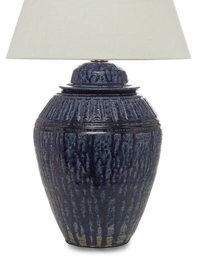 Blue drip glaze ceramic table lamp