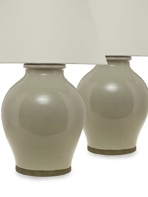Pair Gray Ceramic Crackle Glaze Urn Lamps
