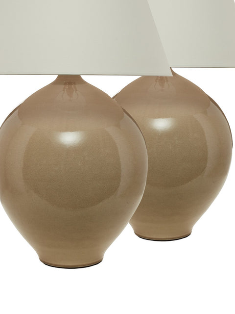 "Pair Hand-Thrown Porcelain ""Sphere"" Table Lamps"
