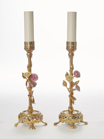 Pair of Antique Brass Boudoir Table Lamps