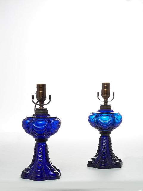 Pair of Cobalt Glass Hurricane Table Lamps