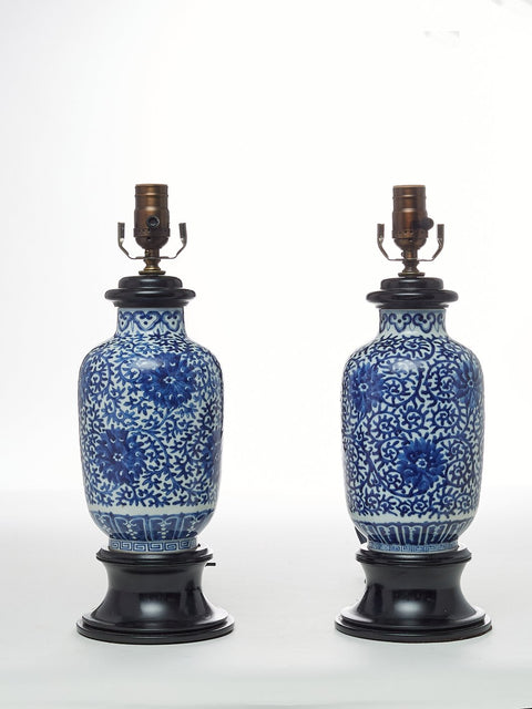 Pair of Antique, Chinese, Blue and White Porcelain Table Lamps