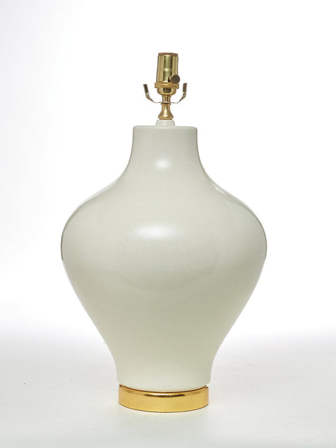 Handmade Porcelain Vessel Table Lamp with 24K Gold Base