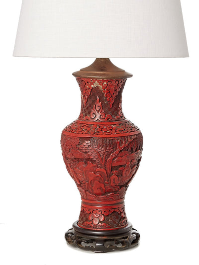 Antique Carved Cinnebar Table Lamp