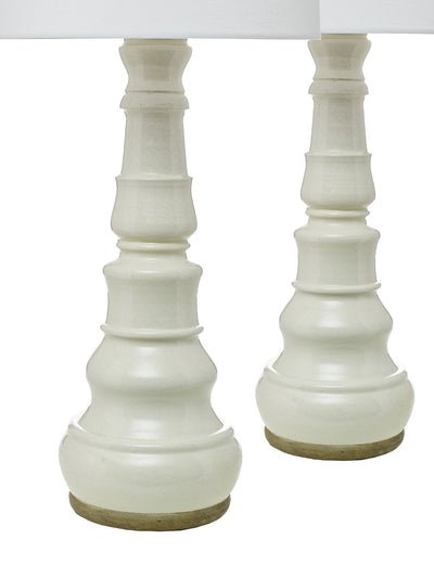 Pair of Ceramic, Cream Crackle Glazed Table Lamps