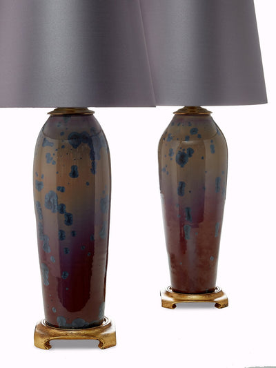Pair of Crystalline Oxblood Glaze Table Lamps