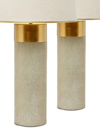 Pair Faux Shagreen Brass Table Lamps