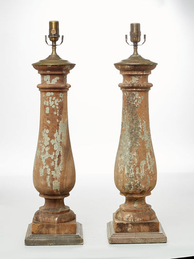Pair of Traditional Wood Baluster Table Lamps