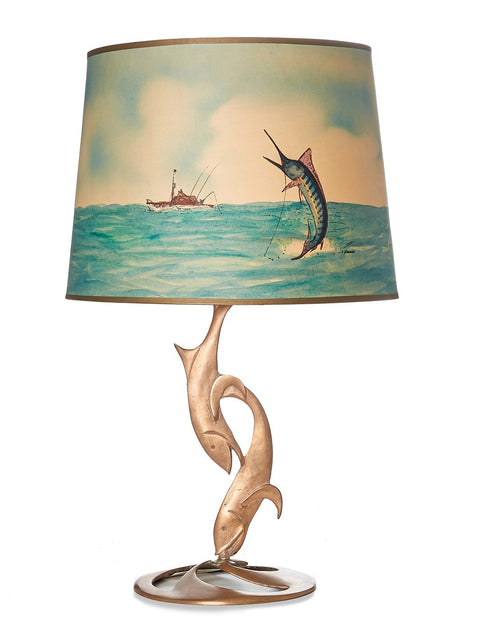 Vintage Brass Sailfish Lamp with Original Shade