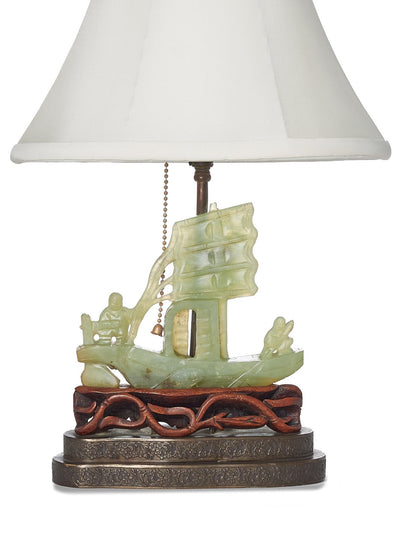 Antique Shangri-la Sampan Jade Lamp