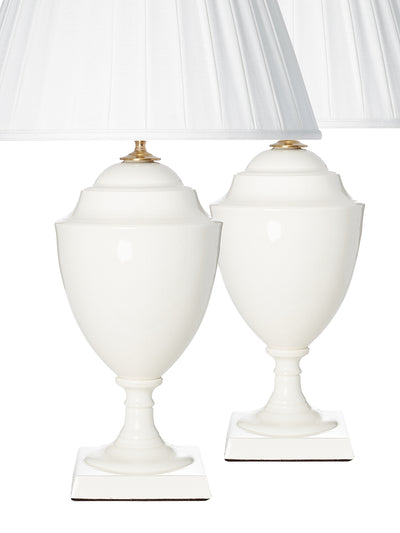 Pair of Knife Box Vanilla Crackle Glaze Table Lamps