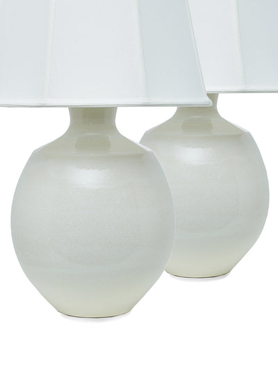 Pair of Oyster Porcelain Table Lamps