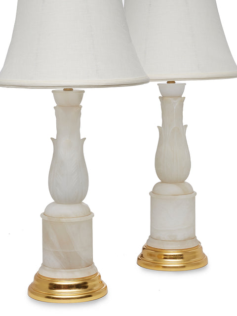 Pair of Carved Alabaster Lamps with 24K Gold Bases