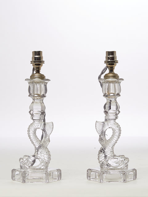 Pair of Antique Sandwich Glass Dolphin Candlestick Lamps and Shades