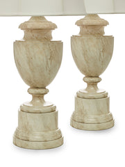 Pair of Trompe-l'œil Faux Marble Monumental Urn Table Lamps