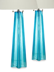 Pair of Blue Murano Glass Table Lamps