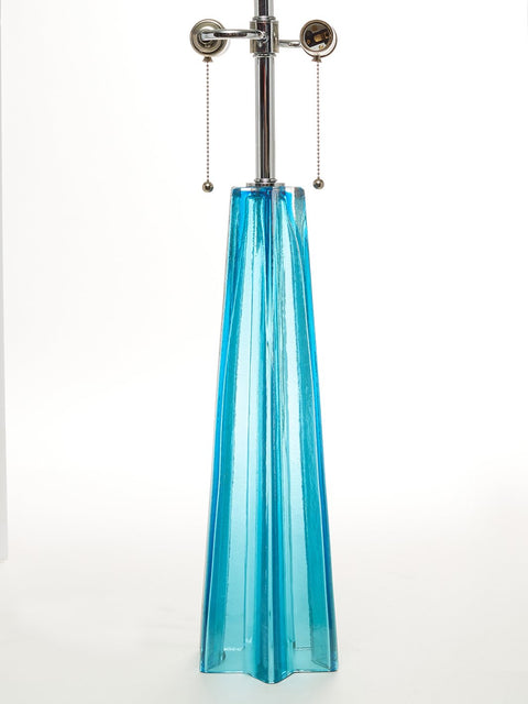 Pair of Blue Signed Murano Glass Table Lamps