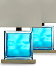Pair of Vintage Aquarium Blue Glass Table Lamps with Polished Nickel Fittings