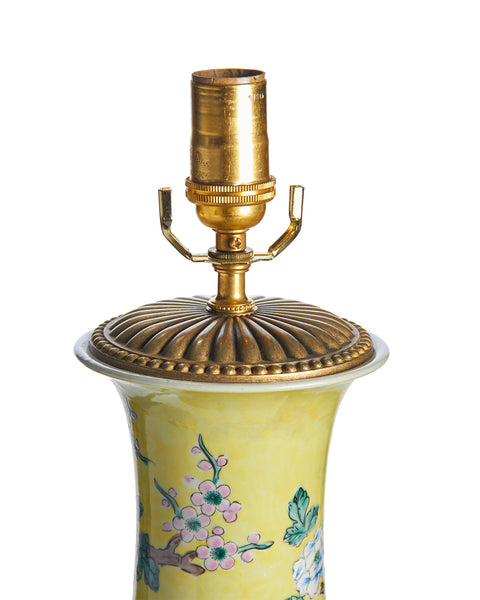 Matched Pair of Chinese Import Yellow Chinoiserie Lamps