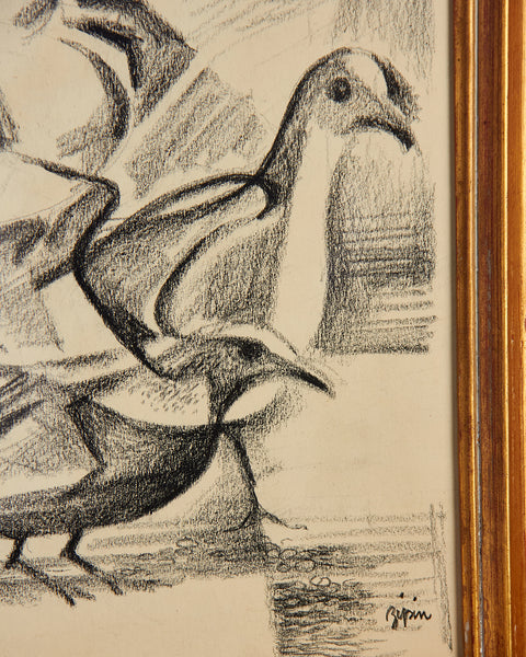 MARTIN JACK ZIPIN Cubist Modernist Charcoal Drawing Seagull Birds